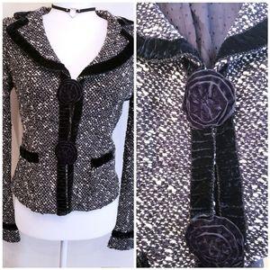 Nanette Lepore Textured Wool Velvet Trim Blazer S